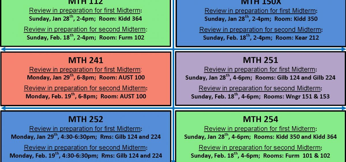 Extra Help Sessions Math Winter 2018